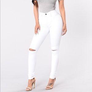 Fashion Nova  High Waisted White Canopy Jeans